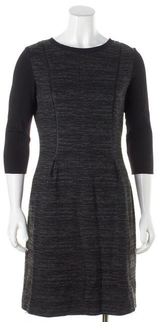 ELIE TAHARI Marled Gray Black 3/4 Sleeve Stretch A-Line Dress