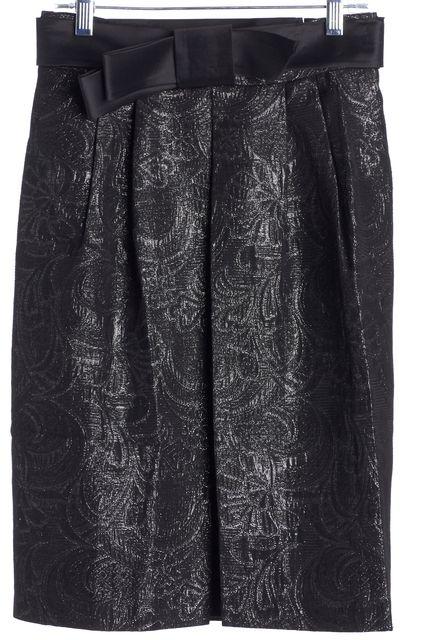 ELIE TAHARI Black High-Waisted Silver Floral Metallic Pencil Skirt