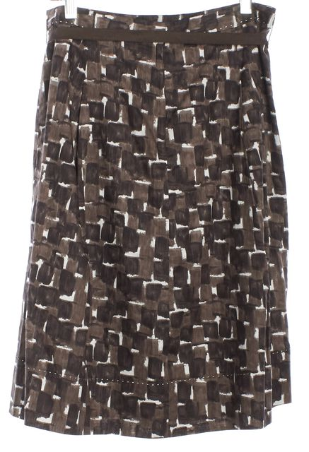 ELIE TAHARI Brown Abstract A-Line Skirt