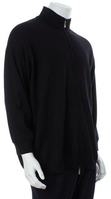 ERMENEGILDO ZEGNA Black Wool Full Zip Thin Knit Sweater Jacket