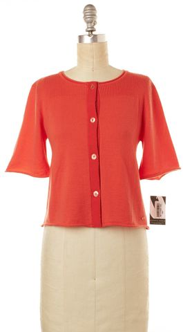 EMILIO PUCCI Orange Short Sleeve Wool Knit Cropped Cardigan