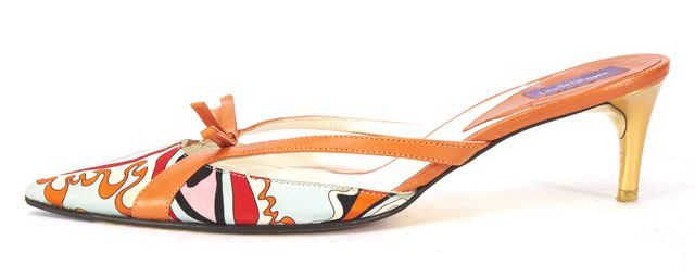EMILIO PUCCI Orange Satin Leather Trim Pointed Toe Mules