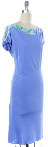 EMILIO PUCCI Blue Silk Boat Neck Sheath Dress