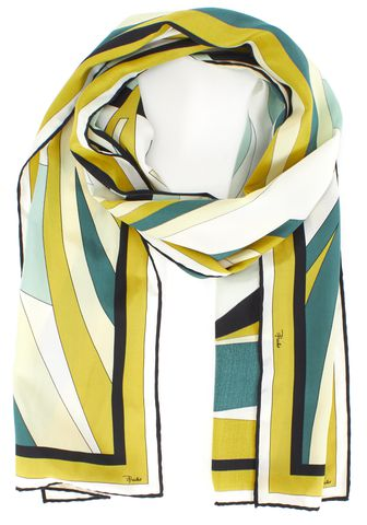 EMILIO PUCCI Green Yellow Black Colorblock Silk Scarf