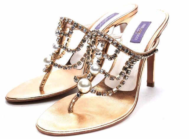 EMILIO PUCCI Gold Crystal Pearl Embellished Strappy Sandals Pumps