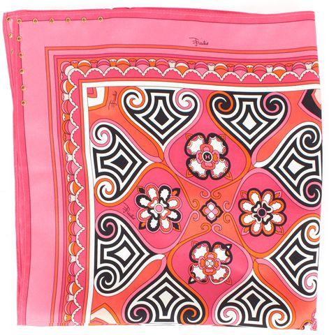 EMILIO PUCCI Pink Orange Black Print 100% Silk Square Scarf