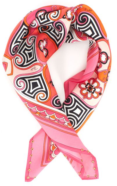 EMILIO PUCCI Pink Orange Black Print 100% Silk Square Scarf