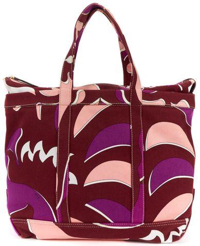 EMILIO PUCCI Pink purple Burgundy Print Canvas Tote Bag