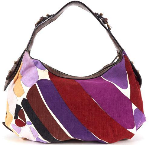 EMILIO PUCCI Purple Multi Corduroy Hobo Bag