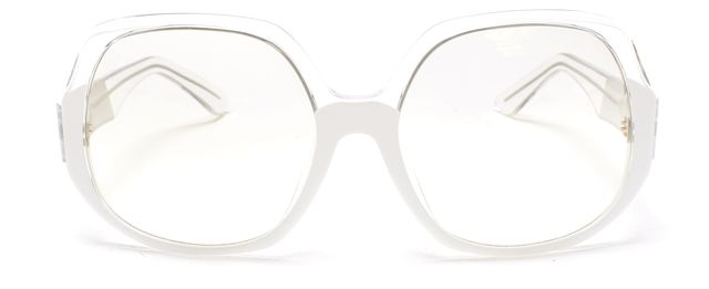 EMILIO PUCCI Clear White Acetate Translucent Lens Oversized Square Sunglasses