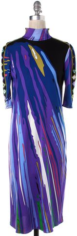 EMILIO PUCCI Blue Multi Print Silk High Neck Short Sleeve Shift Dress