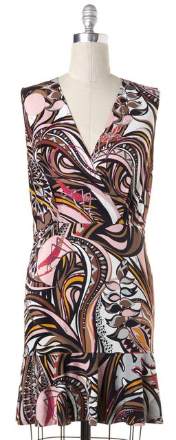 EMILIO PUCCI Pink Multi Paisley Printed Sleeveless Sheath Dress