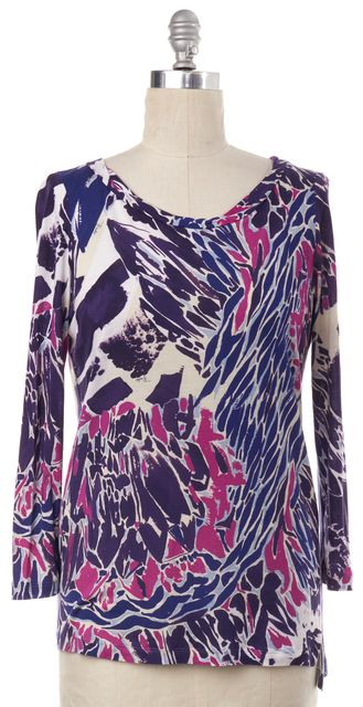 EMILIO PUCCI Purple Abstract Print Long Sleeve Top