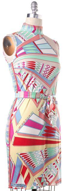 EMILIO PUCCI Multi-Color Abstract Print Silk Sheath Dress