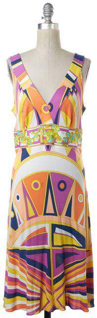 EMILIO PUCCI Yellow Multi-Color Geometric Sheath Dress