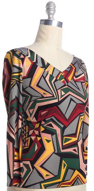 EMILIO PUCCI Gray Green Yellow ColorBlock Geometric Print Silk Blouse Top
