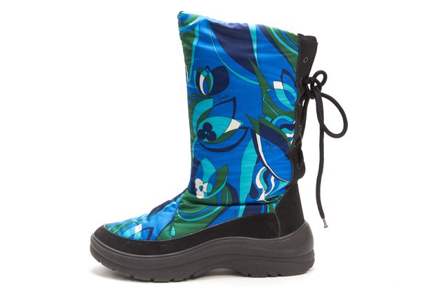 EMILIO PUCCI Blue Green Floral Print Lace Up Mid-Calf Boots