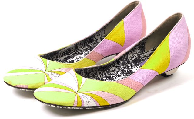 EMILIO PUCCI Multi-Color Canvas Kitten Heels