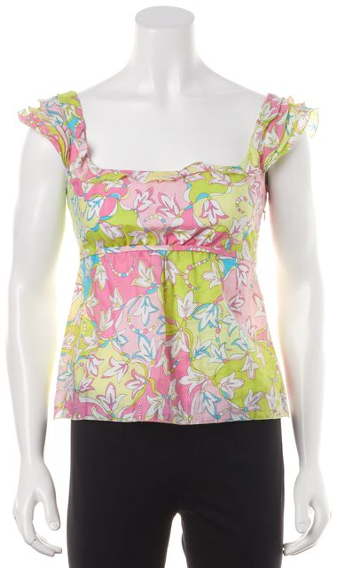 EMILIO PUCCI Green Pink Floral Empire Waist Sleeveless Ruffle Blouse