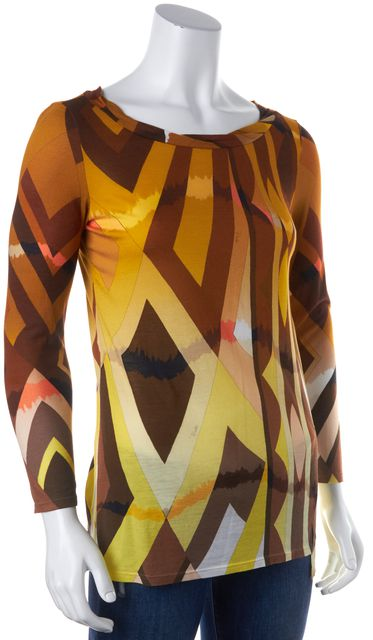 EMILIO PUCCI Yellow Brown Beige Abstract Prints Color-Block Casual Knit Top