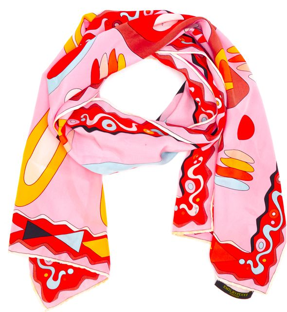 EMILIO PUCCI Pink Red Multi Abstract Printed Silk Long Scarf