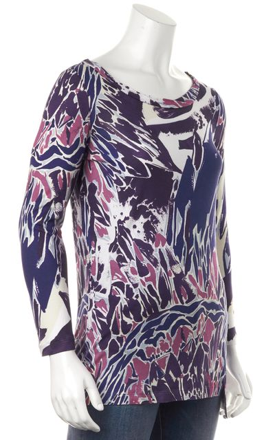 EMILIO PUCCI Purple Pink Blue White Abstract Print Boat Neck Blouse Top