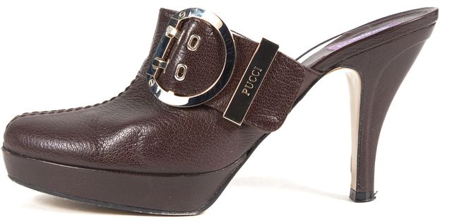 EMILIO PUCCI Brown Leather Gold Buckle Almond Toe Slip-On Clog Mule Heels