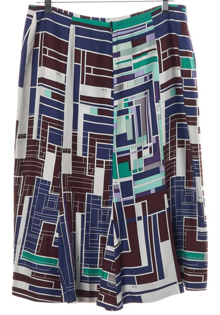 EMILIO PUCCI Multi-color Abstract 100% Silk A-Line Skirt