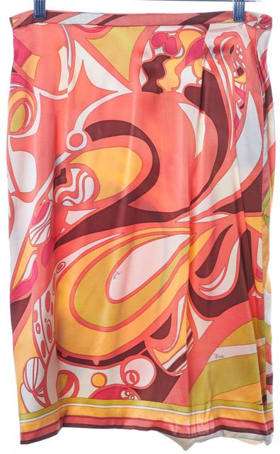 EMILIO PUCCI Pink Multi Abstract Printed Pencil Skirt