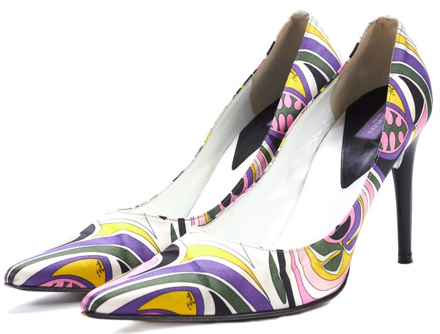 EMILIO PUCCI Purple Pink Yellow Abstract Satin Pointed Toe Heels
