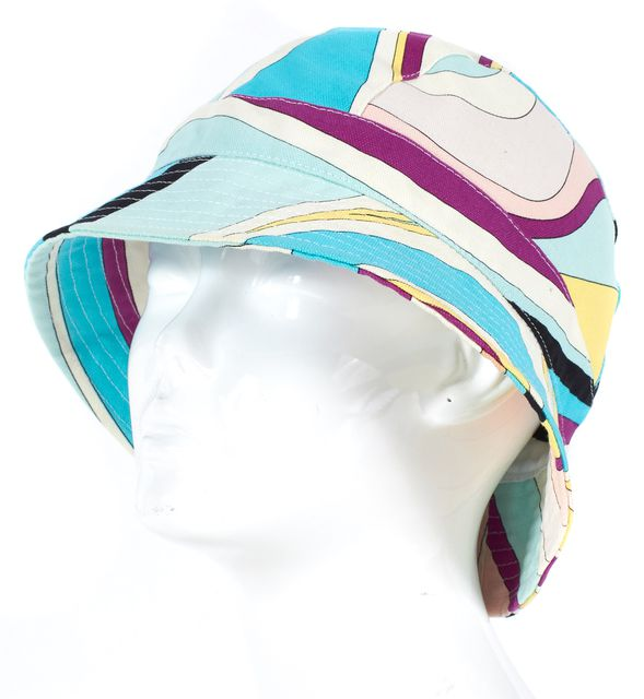EMILIO PUCCI Blue Yellow Purple Abstract Cotton Bucket Hat