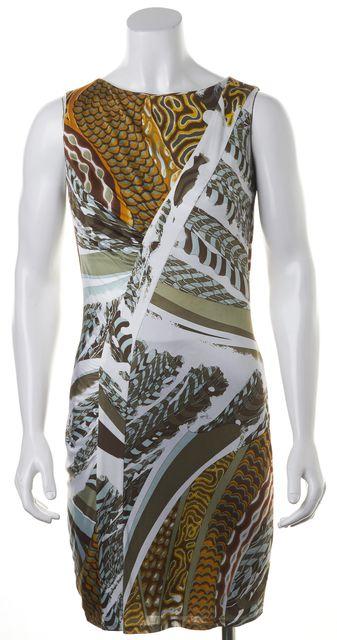 EMILIO PUCCI Green Silk Abstract Sleeveless Sheath Dress