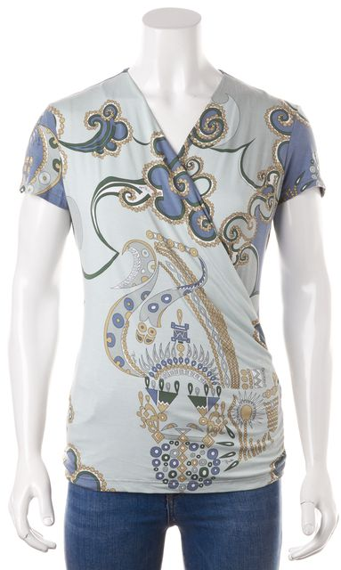 EMILIO PUCCI Green Blue Yellow Grey Geometric Print V-Neck Blouse Top