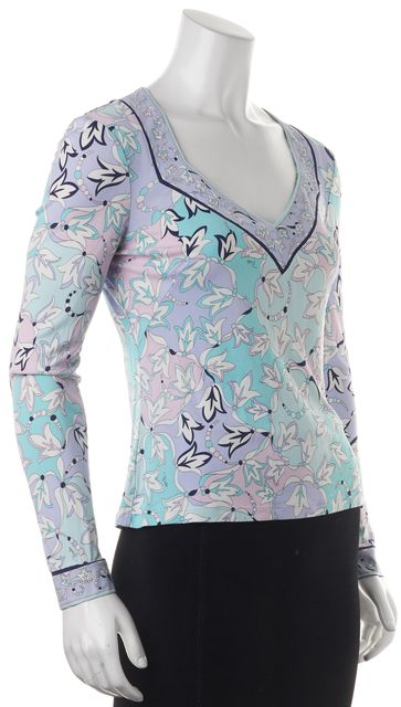 EMILIO PUCCI Blue Purple Abstract Floral V-Neck Long Sleeve Blouse Top