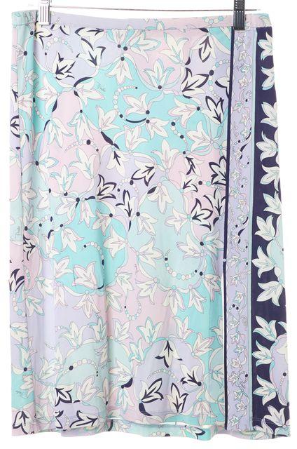 EMILIO PUCCI Purple Floral Straight Skirt