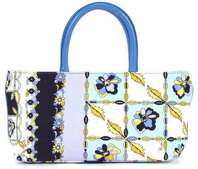 EMILIO PUCCI Blue Yellow Black Floral Canvas Leather Trim Top Handle Bag