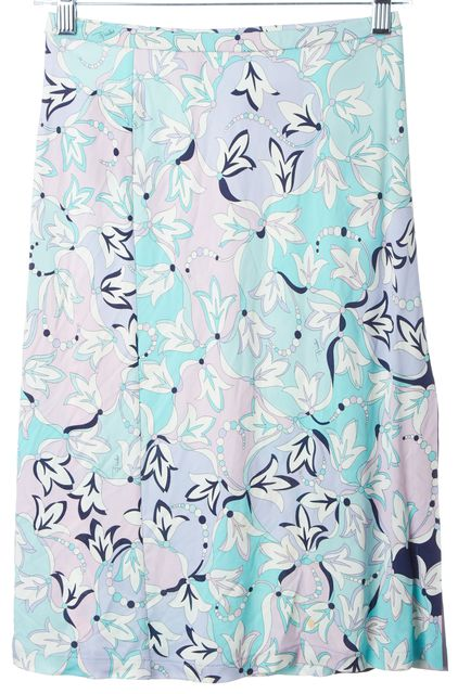 EMILIO PUCCI Lavender Blue Abstract Stretch Knit Skirt