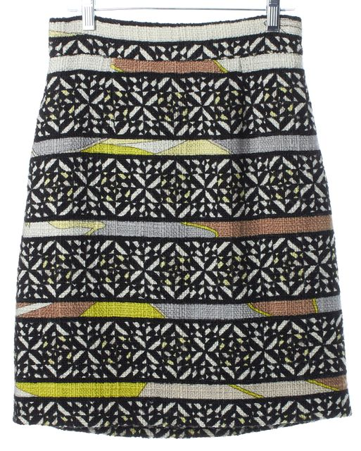 EMILIO PUCCI Yellow Black White Brown Striped Geometric Wool Full Skirt