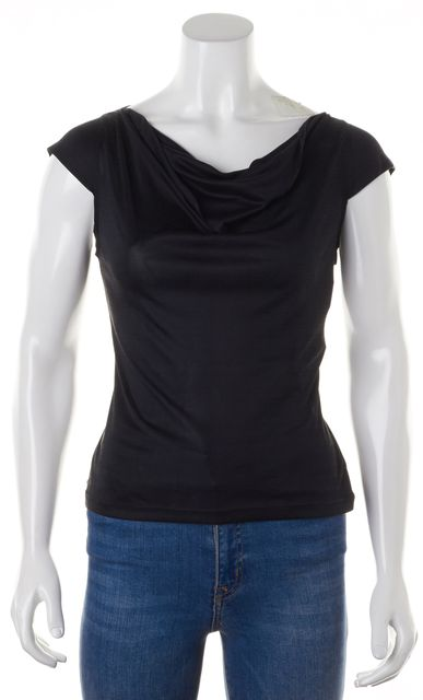 EMILIO PUCCI Black Silk Jersey Sleeveless Cowl Neck Knit Top