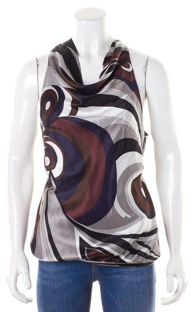 EMILIO PUCCI Brown Gray Multi-color Abstract Print Satin Silk Halter Top