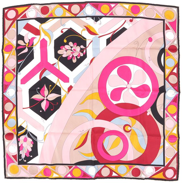 EMILIO PUCCI Pink Black Yellow Abstract Floral Square Scarf