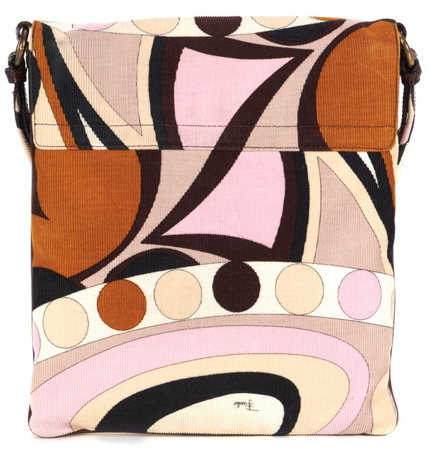EMILIO PUCCI Beige Pink Brown Corduroy Leather Trim Crossbody