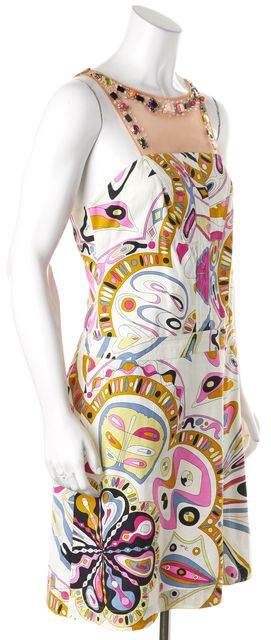 EMILIO PUCCI White Multi-Color Abstract Crystal Mesh Sheath Dress