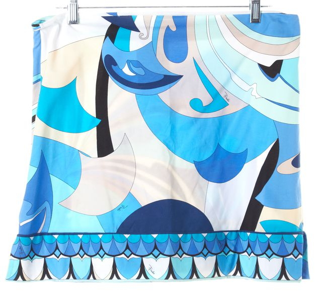 EMILIO PUCCI Blue Beige White Abstract Stretch A-Line Skirt
