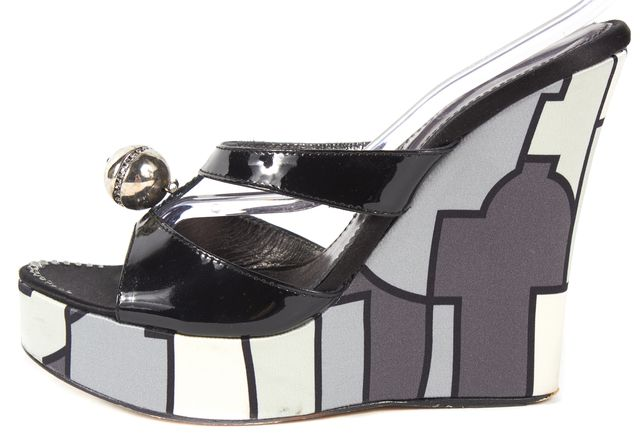 EMILIO PUCCI Gray Black Abstract Leather Platform Wedges