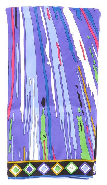 EMILIO PUCCI Blue Purple Black Abstract Printed Silk Square Scarf