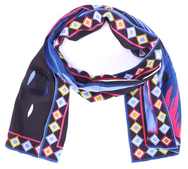 EMILIO PUCCI Black Blue Pink Multi Abstract Printed Long Rectagular Scarf