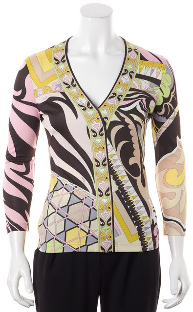 EMILIO PUCCI Pink Brown Multi Printed Jersey V-Neck Blouse Top
