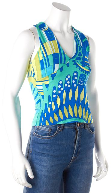 EMILIO PUCCI Blue Green Multi Abstract Printed Twist Back Straps Tank Top