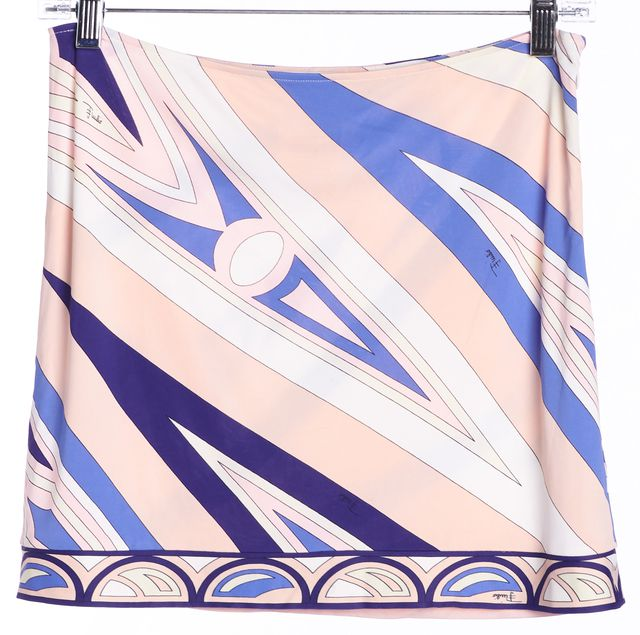 EMILIO PUCCI Pink Blue White Abstract Invisible Zip Mini Skirt